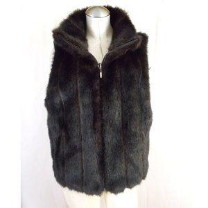 NWOT East 5th Size L Faux Fur Vest Reversi…
